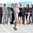 Young business woman and her team isolated over office background — Stock Photo