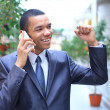 Successful african business man talking on the phone — Stock Photo