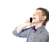 Closeup portrait of young businessman using mobile phone, smiling. — Stock Photo