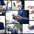 Collage of young businessman working in office — Stock Photo