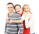 Happy family smiling together - isolated over a white background — Stock Photo