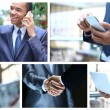 Collage with businessman, calling people and other objects — Foto Stock