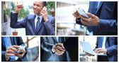 Koláž s podnikatelem, volání lidí a jiné objekty — Stock fotografie