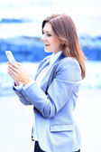 Smiling businesswoman using the mobile phone — Stock Photo