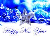 Blauwe en zilveren Kerstdecoratie met kopie ruimte — Stockfoto