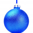 Blue Christmas toy ball, isolated on white background — Stock Photo