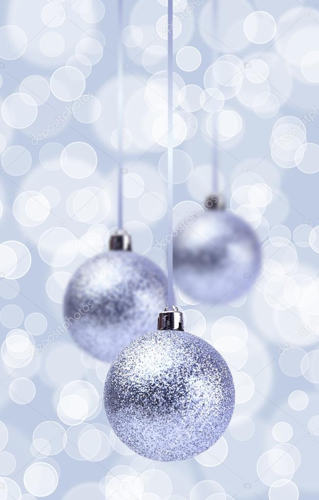 Silver Christmas Balls Ornament Over Elegant Grunge blue ...