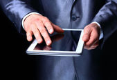 Finger Pointing on Digital Tablet — Stock Photo