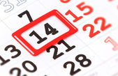 Sheet of wall calendar with red mark on 14 February - Valentines day — Stock Photo