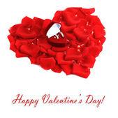 Bellissimo cuore di petali di rose rosse isolate su bianco — Foto Stock
