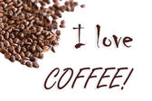 白い背景の上にコーヒーを愛してください。 — ストック写真