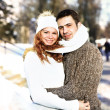 Happy Young Couple in Winter Park having fun.Family Outdoors. love — Stock Photo