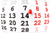 Calendar and red pushpin on 14 February. Valentine's day concept — Stock Photo