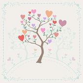 背景に木、心 — ストックベクタ