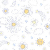 Seamless pattern with doodle sun — Stock Vector