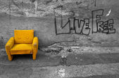 Yellow armchair — Stock Photo