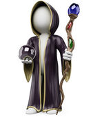 3D white . Halloween sorcerer costume — Stock Photo