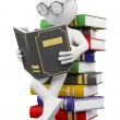 3D white . Student reads a book — Stock Photo #12636929
