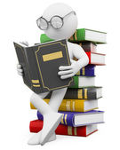 3D white . Student reads a book — Stock Photo