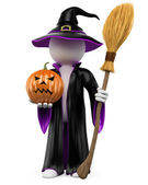 3D halloween white . Witch with a pumpkin and a flying bro — Stock Photo