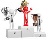 3D businessman white . Winner on podium — Stock Photo