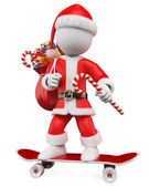 3D Christmas white . Santa Claus riding skateboard — Stock Photo