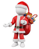 3D Christmas white . Santa Claus pointing with one hand to — Stock Photo