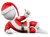 3D Christmas white . Santa Claus lying with thumb up — Stock Photo