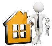 3D businessman white . Real estate — Stock Photo