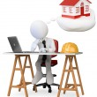 Stock Photo: 3D business white . Architect dreaming about his new proje