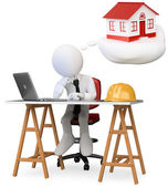 3D business white . Architect dreaming about his new proje — Stock Photo