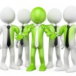 3D white . Green teamwork — Stock Photo