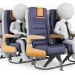 3D white . Business on a air travel - Stock Photo