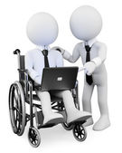 3D white . Disabled businessman working with a partner — Stock Photo