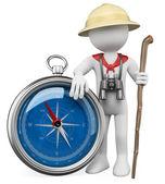 3d weiß. explorer mit kompass — Stockfoto