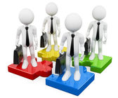 3D white business . Business teamwork on puzzle pieces — Stock Photo