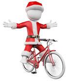3d белый. санта-клаус на велосипеде — Стоковое фото