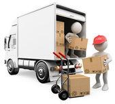 3d beyaz. kutuları bir kamyondan boşaltma işçiler — Stok fotoğraf