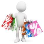 3D white . Shopping sales — Stock Photo