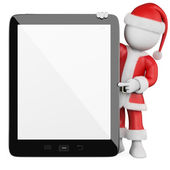 3D white . Santa Claus with a blank tablet — Stock Photo