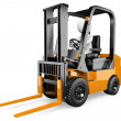 3D white . Forklift — Stock Photo