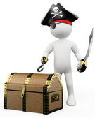 3D white . Pirate with treasure — Stock Photo