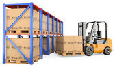 3D white . Forklift in a warehouse — Stock Photo