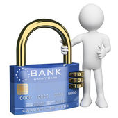 3D white . Secure credit card — Stock Photo