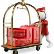 Stock Photo: 3D white . Hotel luggage cart