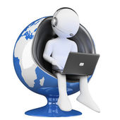 3D white . call center globalization — Stock Photo