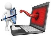 3d branco. antivírus proteção contra vírus de computador — Foto Stock