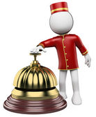 3D white . Hotel reception bell — Stock Photo