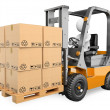 3D white . Forklift with a pallet — Stock Photo