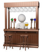 3D white . Wood pub — Stock Photo